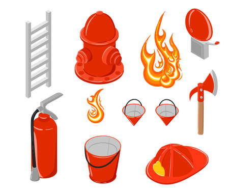 firefighting: Isometric vector illustration of firefighting. Hook and hydrant. Firefighting collection. Elements for infographic.