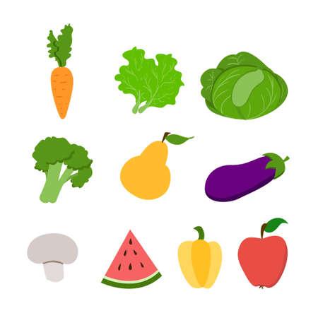 groenten en fruit Food set. Gezond eten. koken