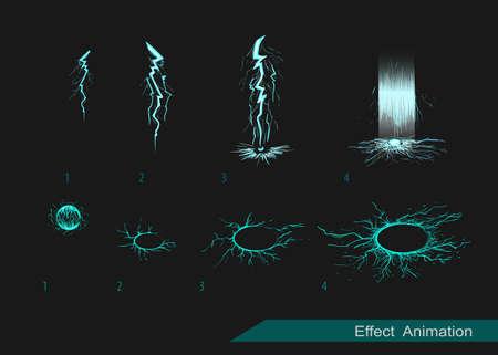 brandweer cartoon: Vector effect. Effect voor game. Ontploffen effect animatie. explosie cartoon frames Stock Illustratie