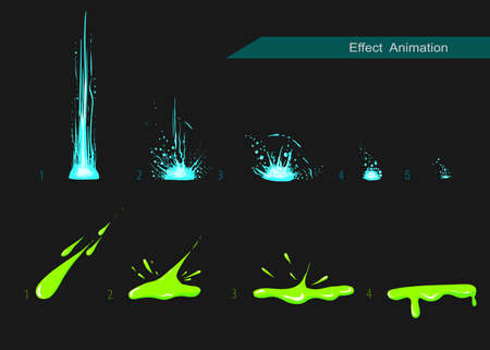 Vector effect. Effect voor game. Ontploffen effect animatie. explosie cartoon frames Stock Illustratie