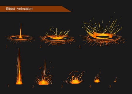 the animated cartoon: Vector effect. Effect for game. Explode effect animation. Cartoon explosion frames