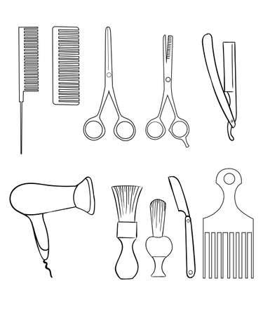 barbershop pole: Barber Set of Vector Barber Shop Elements and Shave Shop Icons Illustration hairdresser