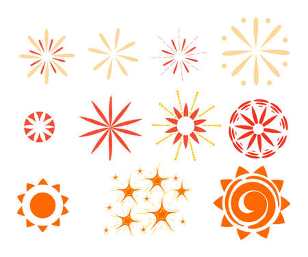 starbursts: Effect isolated on white background. Sparkles, starbursts and fireworks