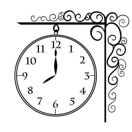 Vector orologi d'epoca muro nero vettore orologio isolato.