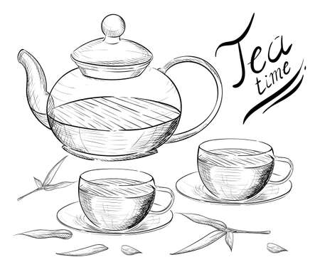 Tea collection. Hand draw vector illustration. Tea time. tea cup teapot.