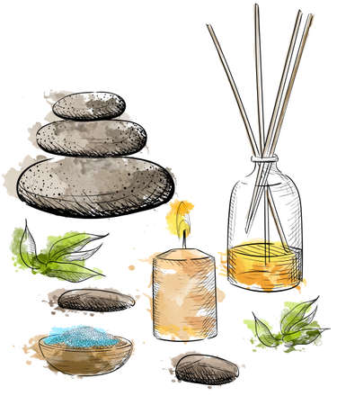 aroma: Spa vector set. Rock Salt Essential Oil Jacuzzi Hand draw vector illustration.