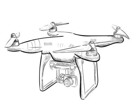 Hand draw vector illustration aerial vehicle quadrocopter. Air drone hovering. Drone sketch.