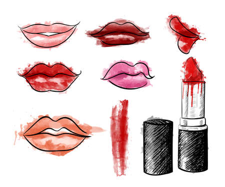Cosmetics collection. Vector fashion set. Hand drawn graphic lips lipstick  Sketch vector illustration Illustration