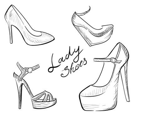 heels shoes: Lady shoes Sketched womans shoe vector illustration collection of fashion high heels shoes.