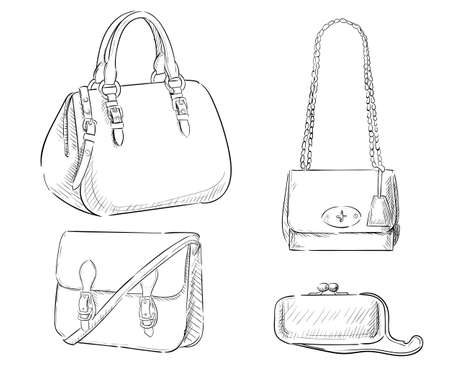womens fashion: Sketches of bags. Vector fashion illustration. Womens Bags Hand Drawn Purses set of womens fashion accessories. vector illustration handbags Illustration