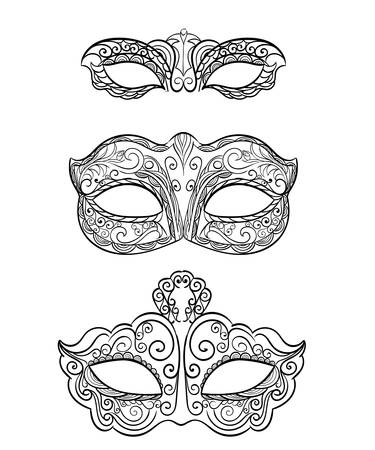 masquerade masks: Set of isolated carnival masks, black and white Beautiful black lace masquerade mask isolated on white background. Ornate Monochrome Mardi Gras Carnival Mask