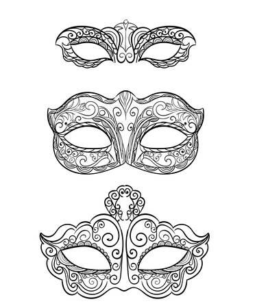 Set of isolated carnival masks, black and white Beautiful black lace masquerade mask isolated on white background. Ornate Monochrome Mardi Gras Carnival Mask