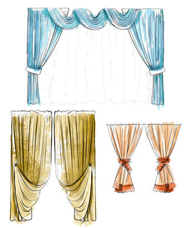 draped: Sketch design curtains windows. Background for use in design, web site, packing, textile, fabric decorative elements for interior. Curtain draped with lambrequins isolated on a white
