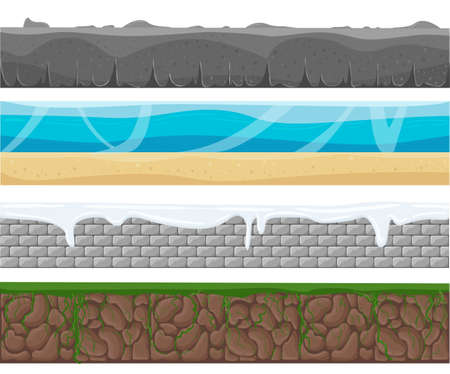 grounds: Illustration of a set of seamless grounds, soils and land foreground area with ice, desert, beach, sand, roots and grass layers and patterns for ui game. Seamless grounds, soils and land vector set.