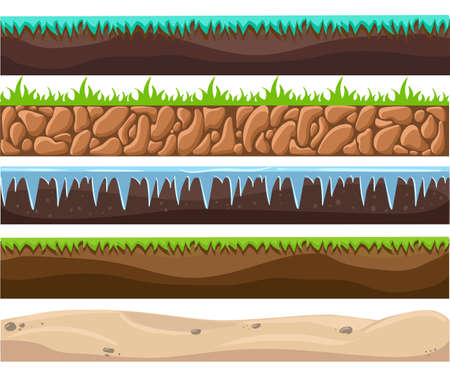 sand beach: Illustration of a set of seamless grounds, soils and land foreground area with ice, desert, beach, sand, roots and grass layers and patterns for ui game. Seamless grounds, soils and land vector set.