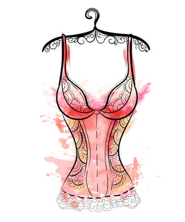 Female fashion lingerie. Sexy lacy lingerie set. Vector lingerie collection. Çizim