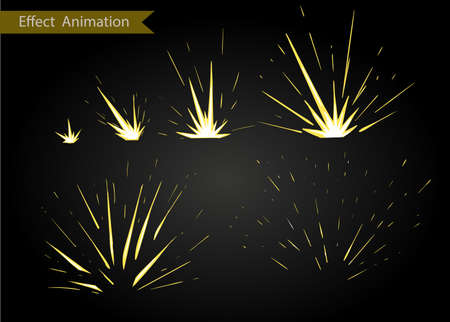 sprite: Vector effect. Effect for game. Explode effect animation. Cartoon explosion frames