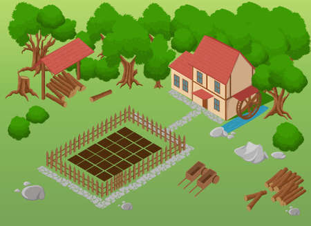 cartoon tractor: Isometric farm. Elements for game. Farm elements.Garden Detailed illustration of a Isometric Farm Farm toy blocks modeling. Illustration
