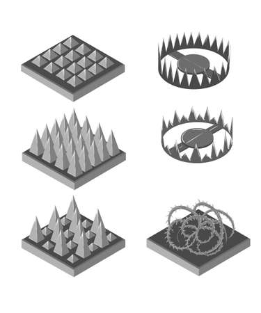 Isometric trap for game. Traps set. Set for game. Game landscape. Stock Illustratie