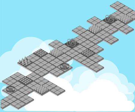 bear trap: Isometric trap for game. Traps set. Set for game. Game landscape. Illustration
