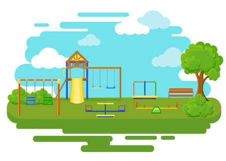 Playground flat icons set with swing carousels slides and stairs isolated. Illustration