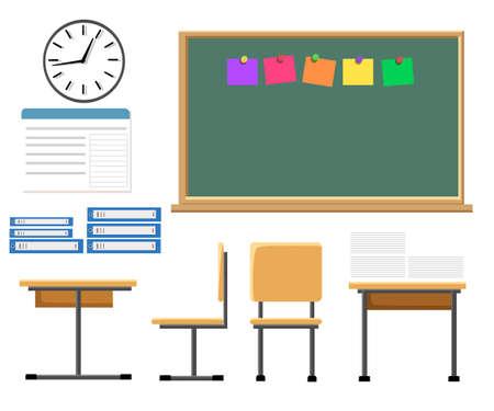 chalk board: Vector flat illustration of classroom at the school School classroom with chalkboard and desks. Illustration