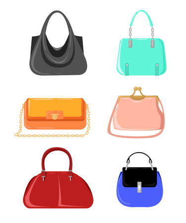 womens fashion: Vector fashion illustration. Womens Bags Hand Drawn Purses set of womens fashion accessories. vector illustration handbags