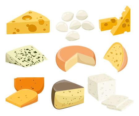 Kawałki sera na białym. Popularny rodzaj sera ikony izolowane. Typy serów. Nowoczesne mieszkanie stylu realistyczne ilustracji wektorowych Ilustracje wektorowe