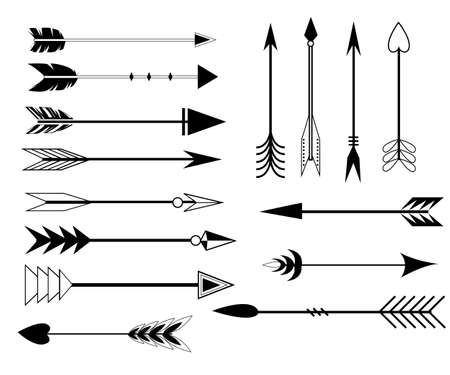 Arrow Clip art Set in Vector on White Background. Hand drawn vintage vector design set. Design elements. Retro style. arrows,