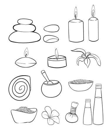 rock salt: Spa vector set. Rock Salt Essential Oil Jacuzzi Hand draw vector illustration line icon