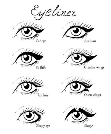 eyeliner: Types of eye makeup. Cat Eyeliner Tutorial. Hand drawn illustration of eyebrow line make up sketches isolated. Stylish make up. Vogue beauty article, magazine, book.