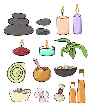 rock salt: Spa vector set. Rock Salt Essential Oil