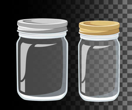 canning: Glass Jars for canning and preserving. Vector Mason Canning Jars. glass jars set isolated. Illustration