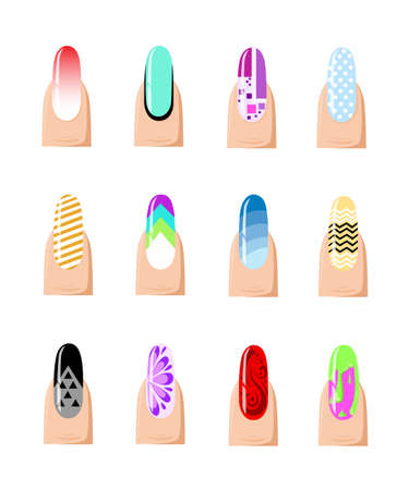 brittle: Manicure design set. Colorful texture for nail salon set of colored painted isolated on a white background.