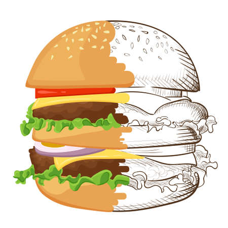 salat: illustration of hand drawn burger. Hamburger Cheeseburger . Illustration