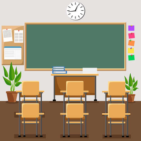 flat illustration of classroom at the school School classroom with chalkboard and desks.