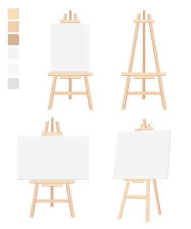 blank canvas: Easel flat icon design illustration Blank Canvas on Painting chalk folding Isolated on white. board diagram meeting