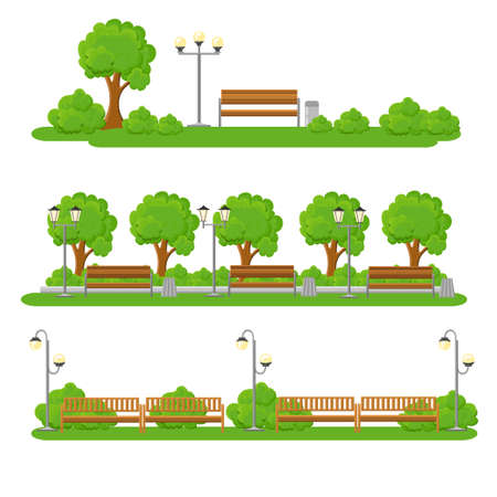 seating area: City elements, outdoor and scenes flat set. Urban decor, parks and alleys, streets and sidewalks tree and seating area illustration