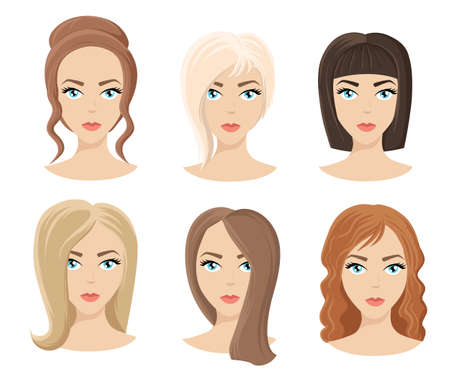 black wigs: Different colors shades and types of hair. Set of different girls hairstyle for curly wavy short medium. Hairdresser a new hairstyle new style Illustration