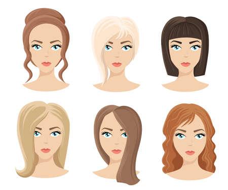 Verschillende kleuren en tinten soorten haar. Set van verschillende kapsel meisje voor krullend golvend korte medium. Kapper een nieuw kapsel nieuwe stijl
