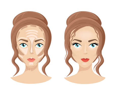 skin tones: Foundation concealer matte bronzer. Make up face How to contour face. Three steps of professional contouring: highlight, contour and blend.