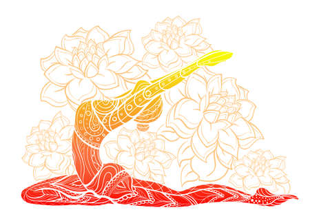Vector silhouette of yoga woman floral ornament