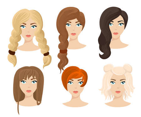 Different colors shades and types of hair. Set of different girls hairstyle for curly wavy short medium. Hairdresser a new hairstyle new style Illustration