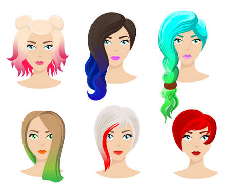 Different colors shades and types of hair. Set of different girl's hairstyle for curly wavy short medium. Hairdresser a new hairstyle new style