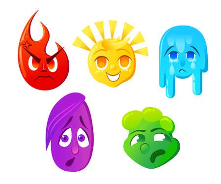 disgust: Fear surprise joy sadness disgust Emoticon illustration. Set emoticon face on a white background. Different emotions collection