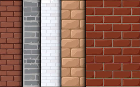 Brick texture background. Set texture of a tile. Cartoon background for game elements isolated.