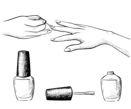 картинки карандашом маникюр