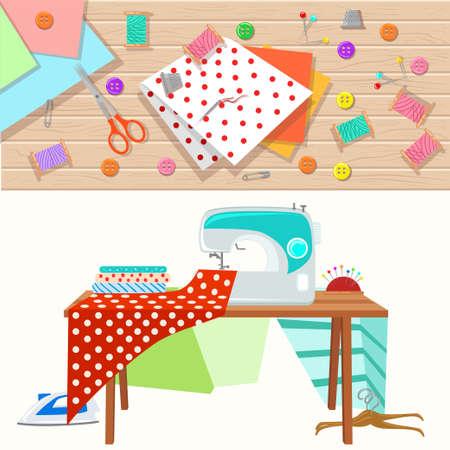 Insieme degli oggetti per il cucito, l'artigianato. Strumenti di cucito e kit da cucito, attrezzature per cucire, aghi, macchine per cucire, cucire pin, filato.