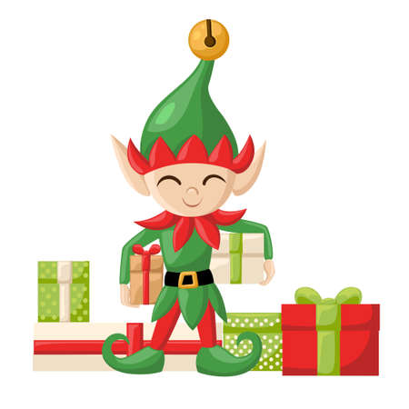 santa s elf: Elf Santa Claus Santa s elves preparing for christmas. Merry christmas Candy