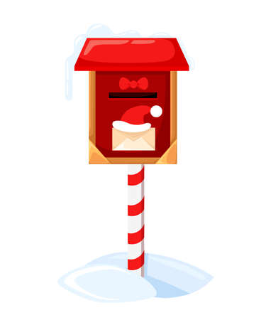 Santa s mailbox Vector illustration of a letter for Santa Claus Merry Christmas and Happy New Year. Mail wish list snow.